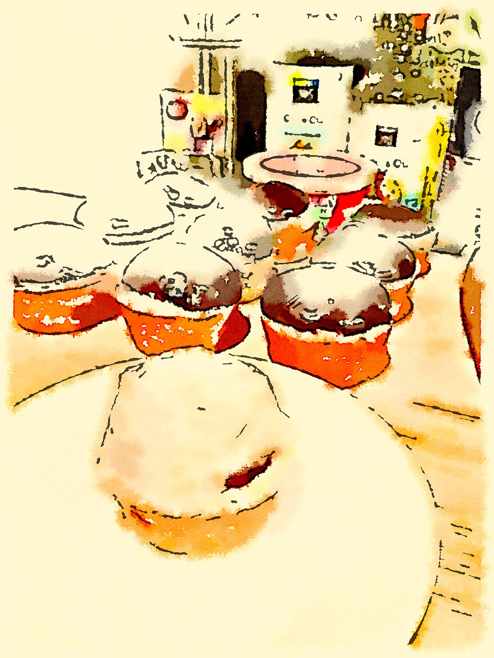 Cupcake waterlogue
