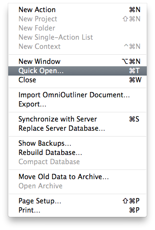 OmniFocus Quick Open shortcut changed